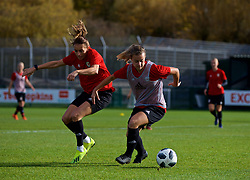 NEWPORT, WALES - Tuesday, November 6, 2018: Wales' Kayleigh Green and Ella Powell during a training session at Dragon Park ahead of two games against Portugal. (Pic by Paul Greenwood/Propaganda)