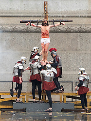 © Licensed to London News Pictures. 30/03/2018. London, UK. 'The Passion of Jesus' is performed in Trafalgar Square. The production, from the Wintershall Estate in Surrey, celebrates Good Friday, a key date in the Christian calendar. Photo credit : Tom Nicholson/LNP