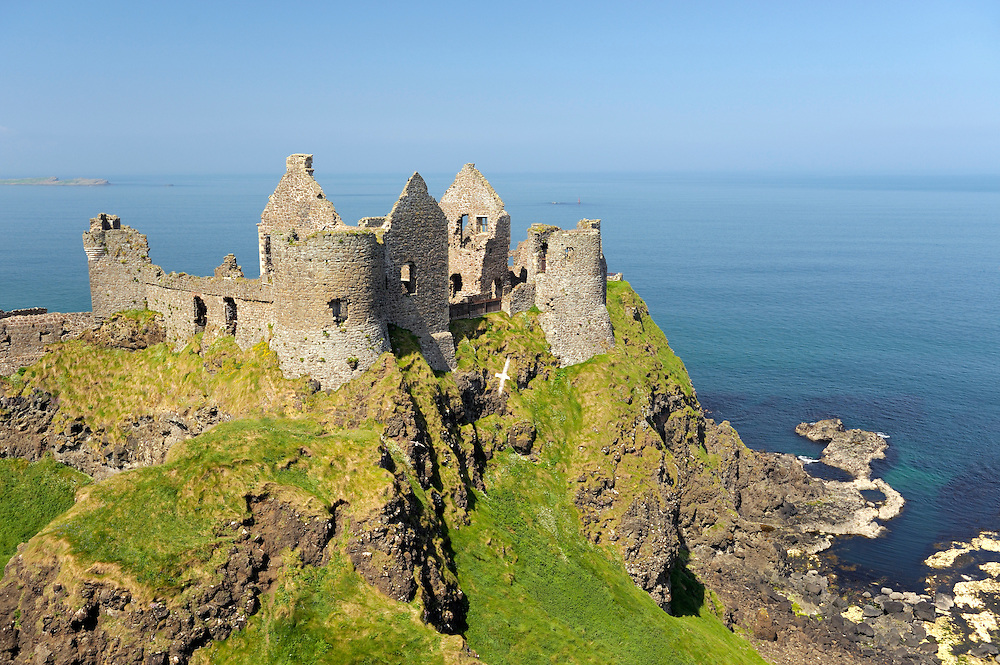 Dunluce Castle, mediaeval ruin between Portrush and Bushmills on North Antrim Coast Road, County Antrim, Northern Ireland.