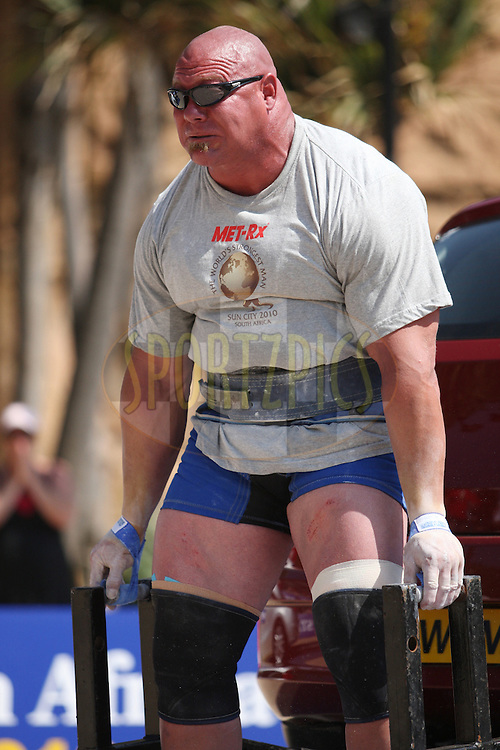 Nick Best (USA) holds on with all his strength in the deadlift (for time) during one of the qualifying rounds of the World's Strongest Man competition held in Sun City, South Africa.