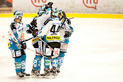 Team EHC Linz during ice-hockey match between HK Acroni Jesenice and EHC Liwest Black Wings Linz in 43rd Round of EBEL league, on Januar 17, 2012 at Dvorana Podmezaklja, Jesenice, Slovenia. (Photo By Urban Urbanc / Sportida)