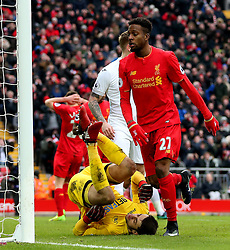 Divock Origi of Liverpool and Adam Lallana of Liverpool look dejected as Lukasz Fabianski of Swansea City makes a save - Mandatory by-line: Matt McNulty/JMP - 21/01/2017 - FOOTBALL - Anfield - Liverpool, England - Liverpool v Swansea City - Premier League