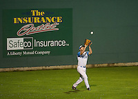 Vinny Zarrillo makes the catch in left field during playoff game two with the Vermont Mountaineers on Tuesday evening.  (Karen Bobotas/for the Laconia Daily Sun)