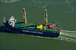 Aerial view of a jumbo fishing vessel traveling through the Port of Houston