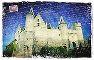 Het Steen Castle, Antwerp, Belgium - Forgotten Postcard digital art collage