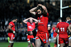 Nicky Robinson of Bristol Rugby looks dejected after his side concede a try - Photo mandatory by-line: Patrick Khachfe/JMP - Mobile: 07966 386802 27/05/2015 - SPORT - RUGBY UNION - Worcester - Sixways Stadium - Worcester Warriors v Bristol Rugby - Greene King IPA Championship Play-off Final (Second leg)