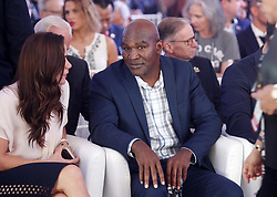 October 1, 2018 - Kiev, Ukraine - Former Boxing Champion EVANDER HOLYFIELD attends the opening of the 56th World Boxing Convention in Kiev, Ukraine, on 1 October 2018.The WBC 56th congress in which take part boxing legends Evander Holyfield,Lennox Lewis, Eric Morales and about 700 participants from 160 countries runs in Kiev from from September 30 to October 5. (Credit Image: © Serg Glovny/ZUMA Wire)