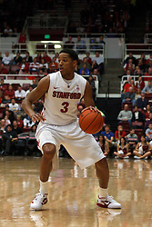 Feb 16, 2012; Stanford CA, USA; Stanford Cardinal guard/forward Anthony Brown (3) dribbles the ball against the Oregon State Beavers during the first half at Maples Pavilion. Stanford defeated Oregon State 87-82. Mandatory Credit: Jason O. Watson-US PRESSWIRE