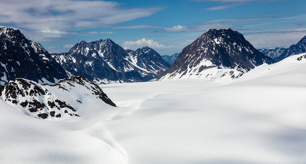Aerial view of Eagle Glacier in Chugach State Park in Southcentral Alaska. Spring. Afternoon.