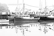 Fishing boats in fog<br />Alma<br />New Brunswick<br />Canada<br />Alma<br />New Brunswick<br />Canada