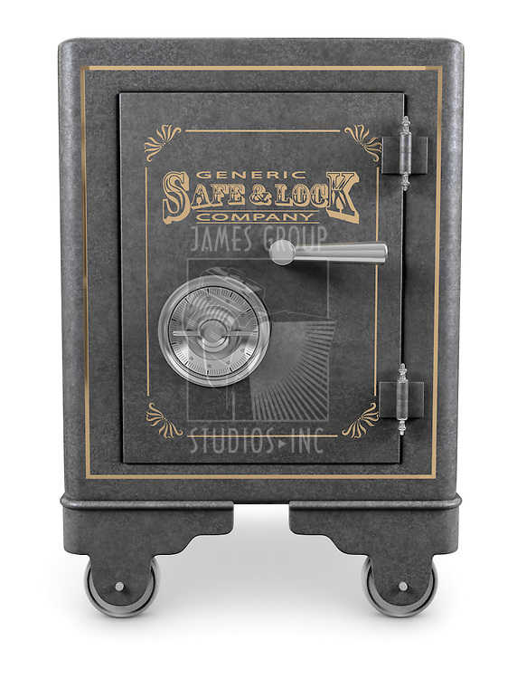 Antique iron safe isolated on white background