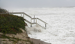 Waves brought by hurricane Dorian crash against the beach access stairs of a home visible off Shell Avenue in Satellite Beach, on Tuesday, September 3, 2019. Photo by Ricardo Ramirez Buxeda/ Orlando Sentinel/TNS/ABACAPRESS.COM