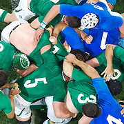 Players challenge at the breakdown during the Ireland V Italy Pool C match during the IRB Rugby World Cup tournament. Otago Stadium, Dunedin, New Zealand, 2nd October 2011. Photo Tim Clayton...