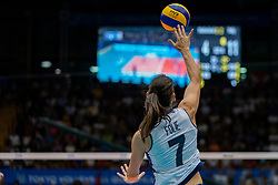 04-08-2019 ITA: FIVB Tokyo Volleyball Qualification 2019 / Netherlands, - Italy Catania<br /> last match pool F in hall Pala Catania between Netherlands - Italy for the Olympic ticket. Italy win 3-0 and take the ticket to the Olympics / Raphaela Folie #7 of Italy