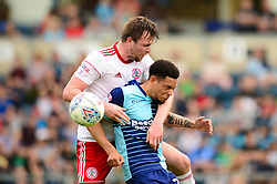 Jordan Clark of Accrington Stanley challenges for the header with Nathan Tyson of Wycombe Wanderers - Mandatory by-line: Dougie Allward/JMP - 21/04/2018 - FOOTBALL - Adam's Park - High Wycombe, England - Wycombe Wanderers v Accrington Stanley - Sky Bet League Two