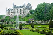 Elaborate gardens of Dunrobin Castle Scotland