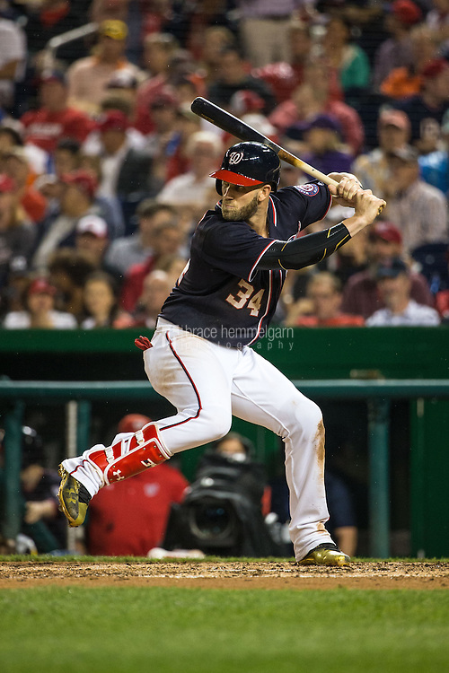 WASHINGTON, DC - APRIL 22: Bryce Harper #34 of the Washington Nationals bats against the Minnesota Twins on April 22, 2016 at Nationals Park in Washington, DC. The Nationals defeated the Twins 8-4. (Photo by Brace Hemmelgarn) *** Local Caption *** Bryce Harper
