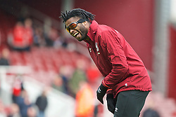 LONDON, ENGLAND - Saturday, January 2, 2016: West Ham United's Alex Song jokes during the warm-up before the Premier League match against Liverpool at Upton Park. (Pic by David Rawcliffe/Propaganda)
