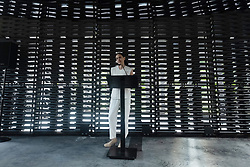 © Licensed to London News Pictures. 11/06/2018. London, UK. Artist FRIDA ESCOBEDO makes a speech inside her Serpentine Summer Pavilion for 2018 in Hyde Park. Photo credit: Ray Tang/LNP
