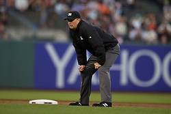 SAN FRANCISCO, CA - APRIL 16:  MLB umpire Lance Barrett #94 stands on the field during the first inning between the San Francisco Giants and the Arizona Diamondbacks at AT&T Park on April 16, 2015 in San Francisco, California.  The Arizona Diamondbacks defeated the San Francisco Giants 7-6 in 12 innings. (Photo by Jason O. Watson/Getty Images) *** Local Caption *** Lance Barrett