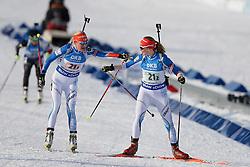 11.03.2016, Holmenkollen, Oslo, NOR, IBU Weltmeisterschaft Biathlon, Oslo, 4x6 Km Staffel, Damen, im Bild Kaisa Makarainen (FIN), Auli Kiskola (FIN) // during 4x6 km women relay of the IBU World Championships, Oslo 2016 at the Holmenkollen in Oslo, Norway on 2016/03/11. EXPA Pictures © 2016, PhotoCredit: EXPA/ Newspix/ Tomasz Jastrzebowski<br /> <br /> *****ATTENTION - for AUT, SLO, CRO, SRB, BIH, MAZ, TUR, SUI, SWE only*****