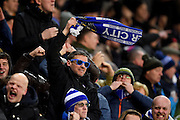 Leicester City fans celebrate after a Leicester City forward Jamie Vardy (9) scores a goal to make it 1-0 during the Premier League match between Leicester City and Liverpool at the King Power Stadium, Leicester, England on 27 February 2017. Photo by Jon Hobley.