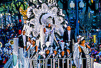 Float of the Queen of the Zulu Parade, Mardi Gras, St. Charles Avenue, New Orleans, Louisiana USA
