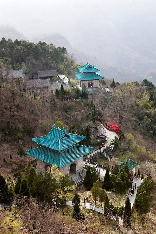 Asia, China, Hubei province.  View from Nanyan Temple on Wudang moutain (Wudang-san), a World Heritage mountain with many Taoist monasteries.