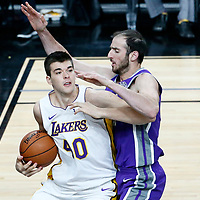 08 October 2017: Los Angeles Lakers center Ivica Zubac (40) drives past Sacramento Kings center Kosta Koufos (41) during the LA Lakers 75-69 victory over the Sacramento Kings, at the T-Mobile Arena, Las Vegas, Nevada, USA.