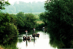 Cambridge May Week. The May balls have started. The students take chauffeur driven punts up the river cam to Grantchester where they have breakfast in the Rrchard Tea rooms, June 20, 2000. Photo by Andrew Parsons / i-images..