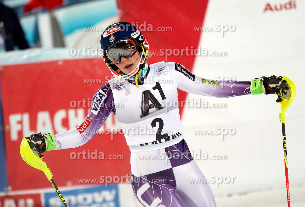 13.01.2015, Hermann Maier Weltcupstrecke, Flachau, AUT, FIS Weltcup Ski Alpin, Flachau, Slalom, Damen, 2. Lauf, im Bild Mikaela Shiffrin (USA, 3. Platz) // third placed Mikaela Shiffrin of the USA reacts after her 2nd run of the ladie's Slalom of the FIS Ski Alpine World Cup at the Hermann Maier Weltcupstrecke in Flachau, Austria on 2015/01/13. EXPA Pictures © 2015, PhotoCredit: EXPA/ JOHANN GRODER