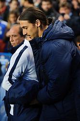 PSG Forward Zlatan Ibrahimovic (SWE) comes out of the tunnel to take his seat in the dugout before kick off - Photo mandatory by-line: Rogan Thomson/JMP - 07966 386802 - 08/04/2014 - SPORT - FOOTBALL - Stamford Bridge, London - Chelsea v Paris Saint-Germain - UEFA Champions League Quarter-Final Second Leg.
