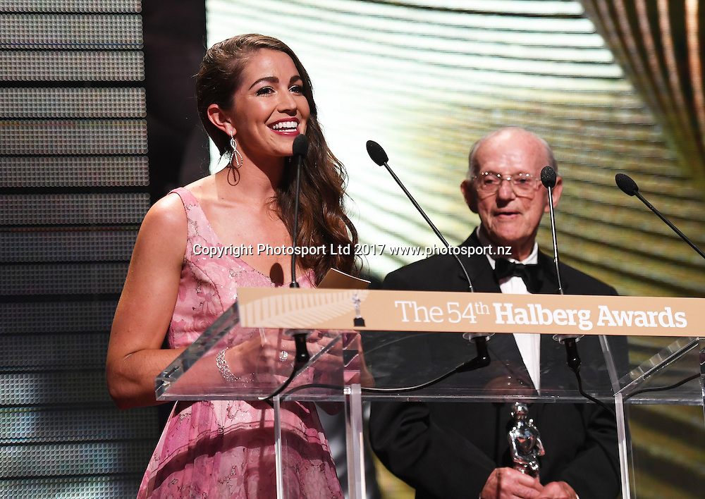 Buddle Findlay Coach of the Year presenters Arch Jelley and Sarah Walker.<br /> The 54th Halberg Awards in support of the Halberg Disability Sport Foundation. Vector Arena, Auckland, New Zealand. Thursday 9 February 2017. &copy; Copyright photo: Andrew Cornaga / www.photosport.nz