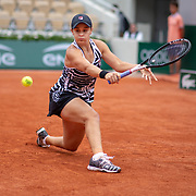 PARIS, FRANCE June 03.  Ashleigh Barty of Australia in action against Sofia Kenin of the United States during the Women's Singles fourth round match on Court Philippe-Chatrier at the 2019 French Open Tennis Tournament at Roland Garros on June 3rd 2019 in Paris, France. (Photo by Tim Clayton/Corbis via Getty Images)