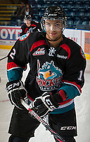 KELOWNA, CANADA - OCTOBER 18:  Tyrell Goulbourne #12 of the Kelowna Rockets warms up on the ice as the Prince George Cougars visit the Kelowna Rockets on October 18, 2012 at Prospera Place in Kelowna, British Columbia, Canada (Photo by Marissa Baecker/Shoot the Breeze) *** Local Caption ***