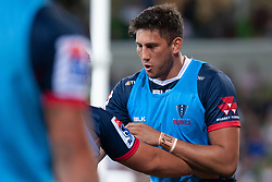 March 1, 2019 - Victoria, VIC, U.S. - MELBOURNE, AUSTRALIA - MARCH 01: Adam Coleman (19) of the Melbourne Rebels warms up with teammates at The Super Rugby match between Melbourne Rebels and Highlanders on March 01, 2019 at AAMI Park, VIC. (Photo by Speed Media/Icon Sportswire) (Credit Image: © Speed Media/Icon SMI via ZUMA Press)
