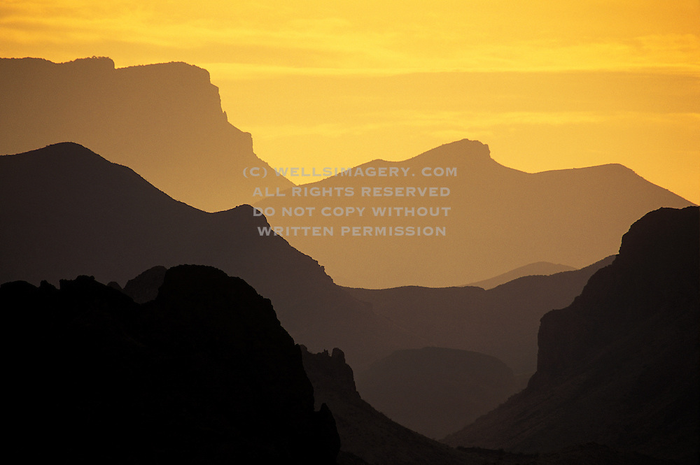Image of layered hills at sunrise at Big Bend National Park, Texas, American Southwest