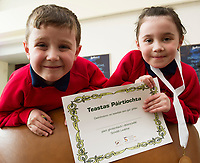 Write a Book, Galway Education Centre's booking writing competition for National School pupils At the Radisson Blu saw hundreds of Children awarded for their Writing Skill.<br /> At the event were twins Ryan and Jenna N&iacute; Chroimin  <br />  . Photo:Andrew Downes, xposure