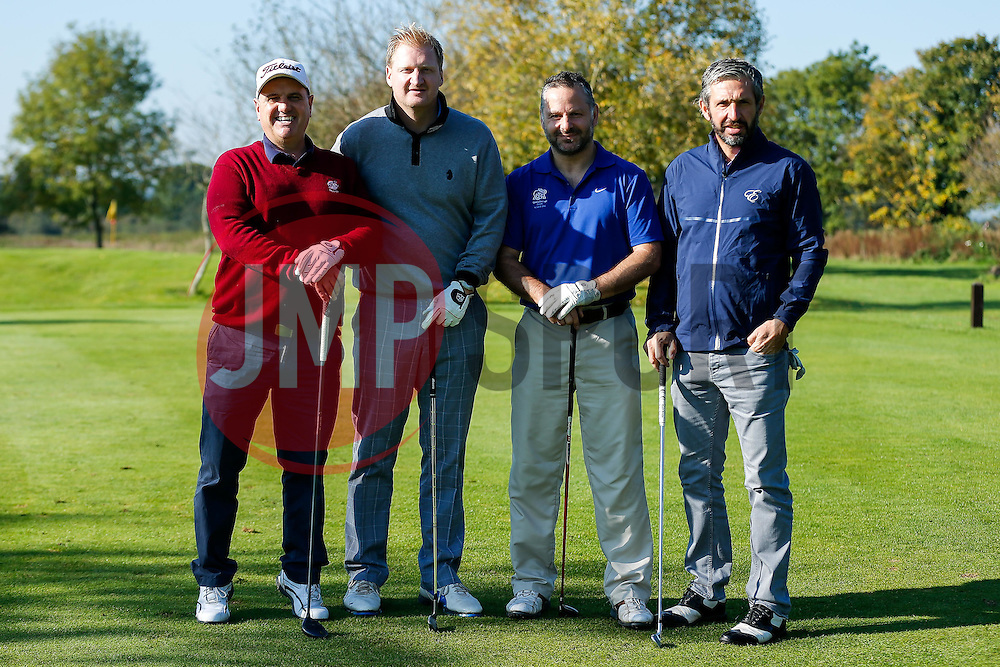 """Ian Holtby of Bristol Rovers joins the """"J&G Fencing"""" team as they take part in the Bristol Rovers charity golf day - Mandatory byline: Rogan Thomson/JMP - 07966 386802 - 12/10/2015 - GOLF - Farrington Park Golf Club - Bristol, England - Bristol Rovers Golf Day."""