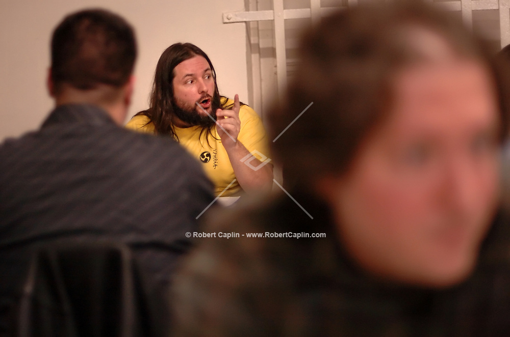 Sam Weiss gestures as he plays Dungeons and Dragons at Neutral Ground in Manhattan Thursday Feb. 23, 2006.