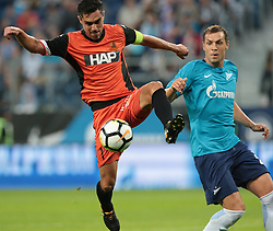 August 3, 2017 - Saint Petersburg, Russia - Roei Gordana (L) of FC Bnei Yehuda and Artem Dzyuba of FC Zenit Saint Petersburg vie for the ball during the UEFA Europa League match, Third Qualifying Round, 2nd Leg between FC Zenit St. Petersburg and FC Bnei Yehuda at Saint Petersburg Stadium on August 03, 2017 in St. Petersburg, Russia. (Credit Image: © Igor Russak/NurPhoto via ZUMA Press)