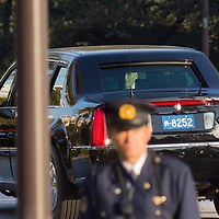 November 6,2017  Tokyo  U.S president  Donald  Trump s'car face appear in motorcade  after leaving from  Akasaka palace  where he met Shinzo Abe Prime prime minister of Japan  and  families  of abductee in North Korea Pierre Boutier