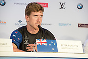 America's Cup Village, Bermuda. 3rd June 2017. Emirates Team New Zealand helmsman Peter Burling announces the team has chosen to sail in the Louis Vuitton America's Cup Challenger Playoffs against Land Rover BAR (GBR) at the AC Qualifiers closing press conference.