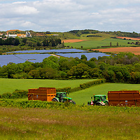 Solar Farm, panels, quarry, fields, farm, tractors, trailers, silage, Blackwater, Isle of Wight, England, UK,