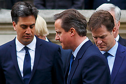 © Licensed to London News Pictures. 08/05/2015. LONDON, UK. Ed Miliband, Prime Minister David Cameron and Nick Clegg attending a service of remembrance at the Cenotaph in London marking the 70th anniversary of VE Day on Friday, 8 May 2015. Photo credit : Tolga Akmen/LNP