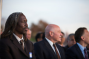 MUSD Board of Education member Chris Norwood listens to a presentation during the Milpitas Unified School District and San Jose Evergreen Community College District Community College Extension Ground Breaking Ceremony near Russell Middle School in Milpitas, California, on November 17, 2015. (Stan Olszewski/SOSKIphoto)
