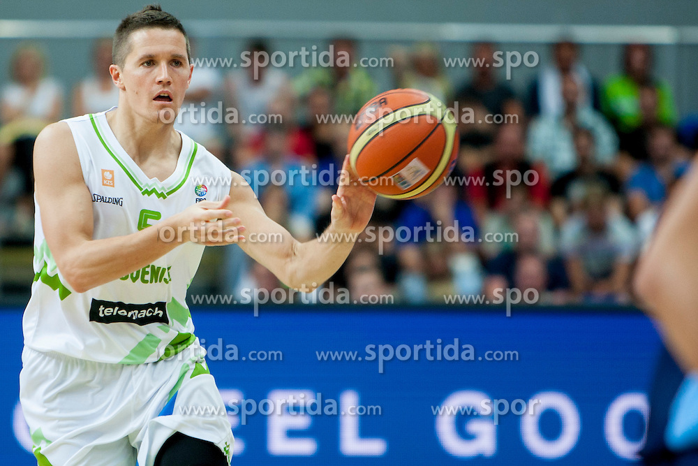 Jaka Lakovic of Slovenia during friendly match between National teams of Slovenia and Bosnia and Herzegovina for Eurobasket 2013 on August 16, 2013 in Podmezakla, Jesenice, Slovenia. (Photo by Urban Urbanc / Sportida.com)
