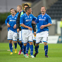 Rosenborg v St Johnstone....18.07.13  UEFA Europa League Qualifier.<br /> FRAZER WRIGHT CELEBRATES AT FULL TIME WITH GARY MILLER<br /> Picture by Graeme Hart.<br /> Copyright Perthshire Picture Agency<br /> Tel: 01738 623350  Mobile: 07990 594431