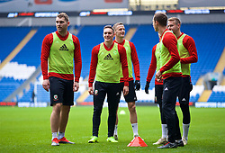 CARDIFF, WALES - Thursday, November 15, 2018: Wales' Sam Vokes, Connor Roberts during a training session at the Cardiff City Stadium ahead of the UEFA Nations League Group Stage League B Group 4 match between Wales and Denmark. (Pic by David Rawcliffe/Propaganda)