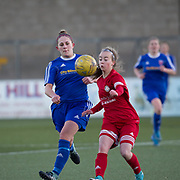 Danni McGinley battles for the ball - Forfar Farmington v Jeanfield Girls in SWPL2 at Station Park, Forfar<br /> <br />  - © David Young - www.davidyoungphoto.co.uk - email: davidyoungphoto@gmail.com